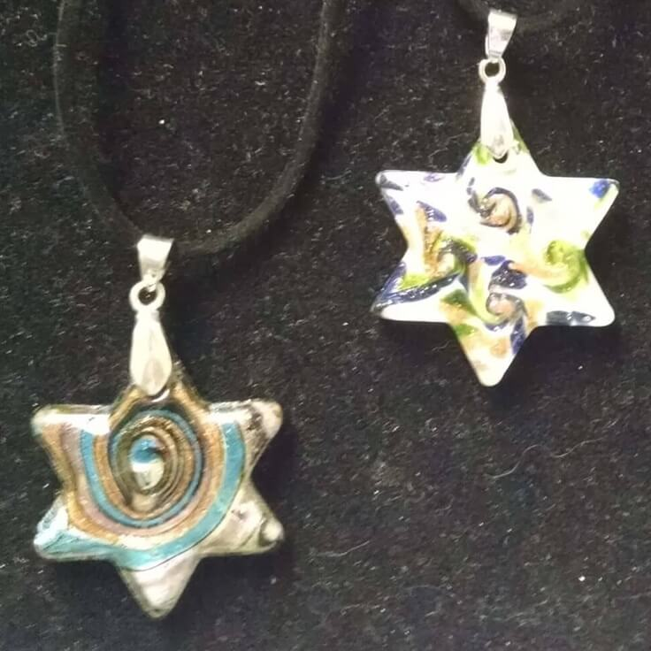 Star of David Glass Necklaces